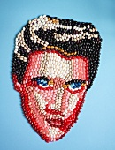 The face of Elvis Presley made from jelly beans