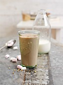 A chocolate and hazelnut shake with marshmallows