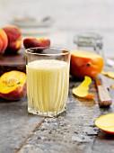 Peach, mango and yogurt drink