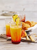 Pineapple shake with mango and grenadine