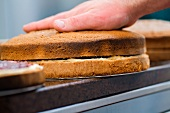 The two halves of the sponge cake being pressed together