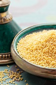 Millet in an Oriental dish (close-up)