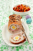 Roast pork stuffed with egg