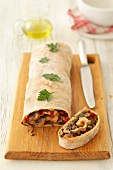 Mushroom strudel with peppers