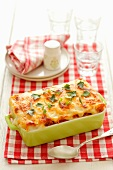 Cannelloni with carrots and leek in béchamel sauce