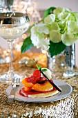 Pancakes with peaches, raspberries and lemongrass
