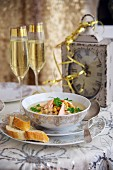 Champagne-salmon soup for New Year's Eve