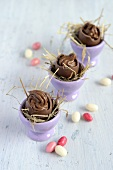 Mousse au chocolat in chocolate eggs
