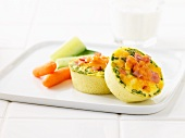 Vegetable frittata with ham