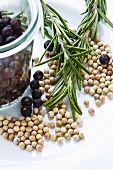 Juniper berries, white peppercorns and rosemary