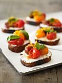 Bruschetta with heirloom tomatoes