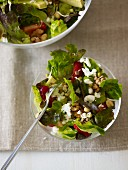 Mixed lettuce with avocado, feta and nuts