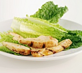 Fried strips of chicken with Romaine lettuce