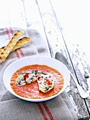 Roasted pepper soup with couscous