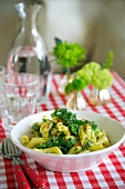 Pasta with pesto and broccoli