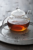 Tea in glass teapot