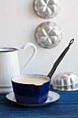 Semolina porridge in an enamel saucepan