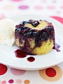 Individual Blueberry Upside Down Cake with a Scoop of Ice Cream