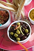 Marinated Olives and Bread Sticks