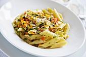 Penne con la caponata (pasta with vegetables in sweet vinegar)