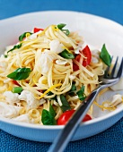 Tagliatelle with crab, tomatoes and basil