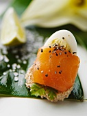 Canape with salmon and egg