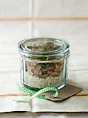 Porcini mushroom risotto mix with thyme in a jar