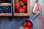 Strawberries, Blueberries and Blackberries in Vintage Boxes