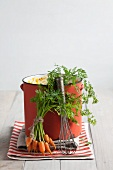 A pot of carrot soup