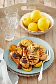 Grilled chicken with lemons