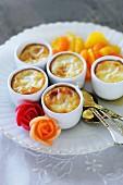 Spanish vanilla flans with marinated citrus fruits