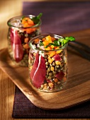 Lentil salad with duck breast