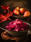 Red cabbage with apples and pears
