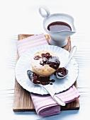 Honey soufflé with cranberry sauce