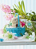 Easter treats in a basket on a table with Easter decorations