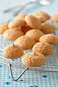 Almond macaroons on a cooling rack