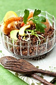 Red quinoa with prawns and avocado