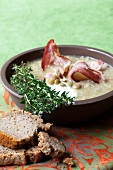 Green lentil soup with bacon and thyme