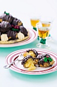 Profiteroles with chocolate sauce for Christmas