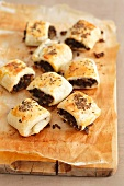 Puff pastry croquets with beef and caraway