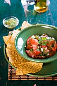 Fresh tomato salsa and nacho chips