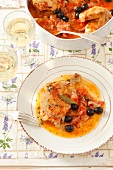 Pollo alla spagnola (chicken with bacon, tomatoes and olives)