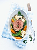 Poached fillet of beef with vegetables