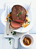 Pot-roasted beef with onion sauce