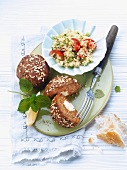 Meat patties with a feta core and couscous