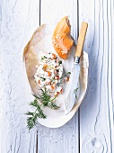 Smoked salmon spread and bagel