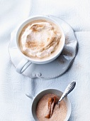 Coffee with milk foam and cinnamon sugar