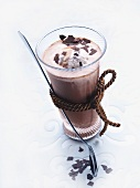 Hot chocolate with stracciatella ice cream