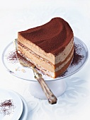 Tiramisu layer cake on a cake stand