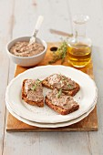 Crostini with chicken liver pate
